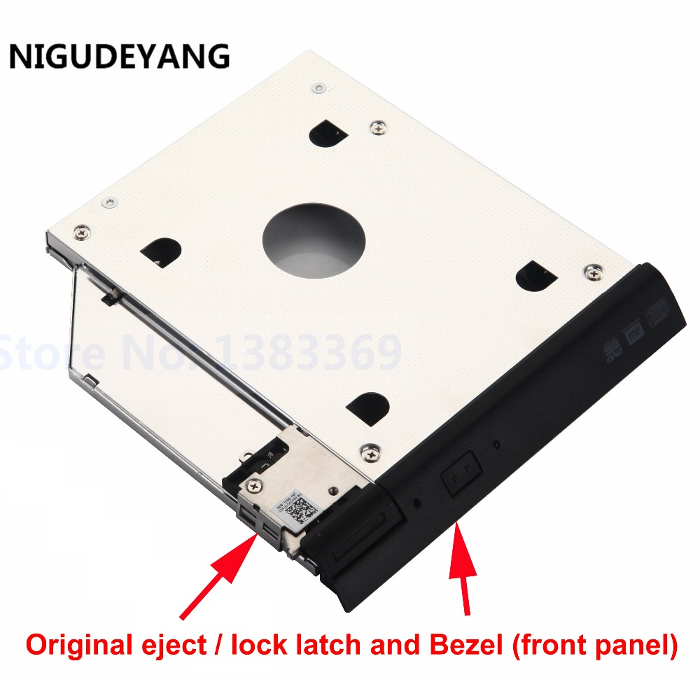 2nd HDD SSD Hard Drive Caddy Adapter with eject / lock latch mechanism for Dell Latitude E6320 E6420 E6520 E6330 E6430 E6530(China (Mainland))