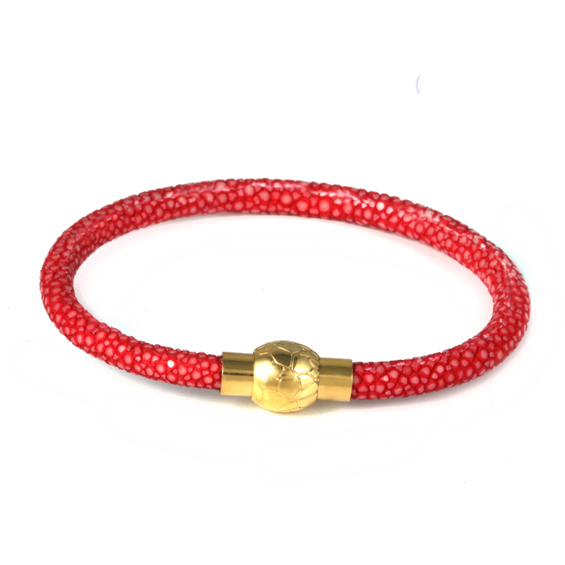 (10 pcs)BC Luxury Bangle Hot sell stainless steel silver 18k gold rose buckle 1 roll stingray leather bracelet<br><br>Aliexpress