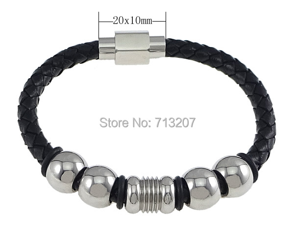 Free shipping!!!Cowhide Bracelet,Celebrity, with Silicone &amp; Stainless Steel, black, 13x10x13mm, 9x12x9mm, 6mm, 20x10x10mm<br><br>Aliexpress