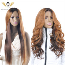 Glueless Ombre Lace Front Human Hair Wigs/ Brazilian Ombre Full Lace Human Hair Wigs For Black Women/Human Hair U Part Wigs(China (Mainland))