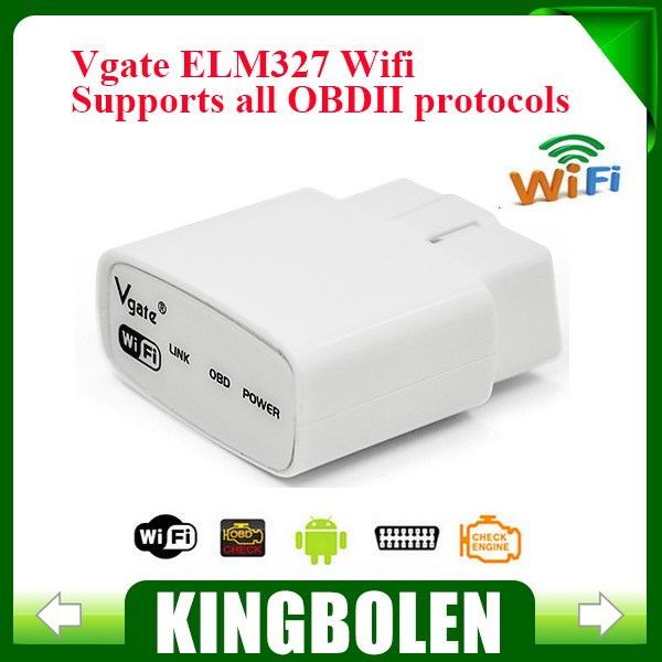2015 Free Shipping ELM327 Wifi Original Vgate iCar elm327 elm 327 WIFI OBDII OBD2 For Android PC iPhone iPad Car(China (Mainland))