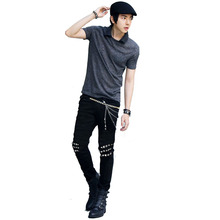 Fashion Mens Rock Star Punk Style Jeans Black Skinny Slim Fit Tapered Jeans Pants For Men(China (Mainland))