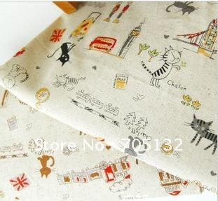 New arrival traveling cats linen/cotton fabric,2 designs A and B,145x100cm ,ideal for making bags/curtain/cushion covers(China (Mainland))