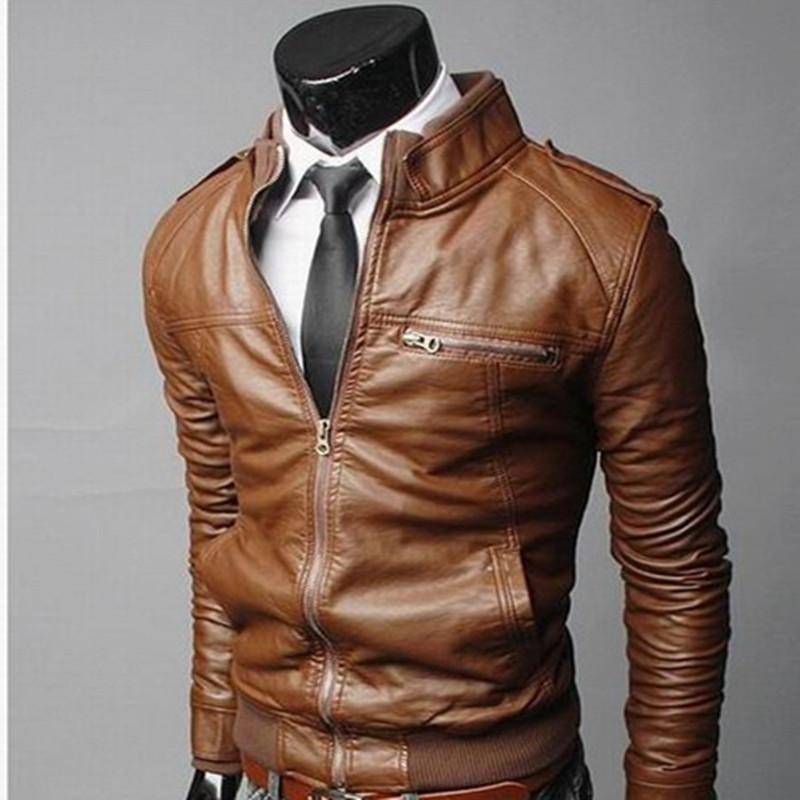2015 new brand men jacket motorcycle leather jackets man slim fit coats fashion jaqueta de couro masculina autumn winter outwear