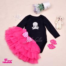 Baby Girls Pettiskirt Set Yarn Ruffles Lots of Layers Ball Gown Rose Skirt and Black Bodysusit 0-2Years Newborn Girl Skirts 2015(China (Mainland))