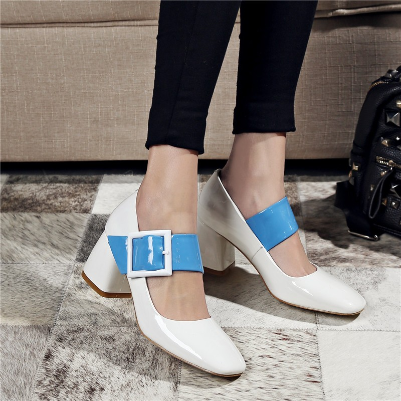 Фотография 2016 GMD342 Women Fashion Buckle Square Toe Genuine Leather Square Heel Pumps Lady Mixed Colors Patent Leather Marry Jane Shoes