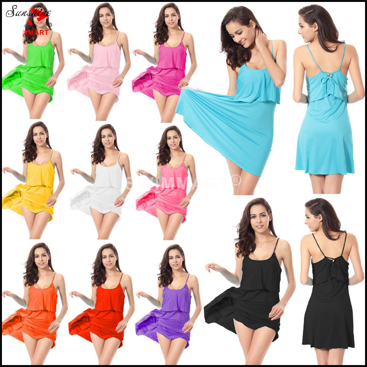 11 Colors European American Trendy Women Sexy Bathing Suit Cover Ups Adjustable Summer Beach Dress Free Shipping(China (Mainland))