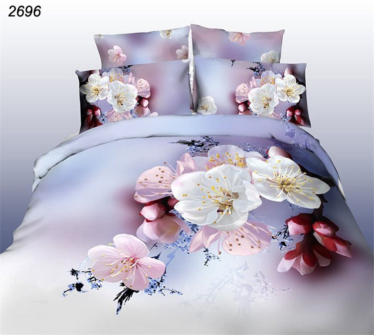 3D bedding sets bed cherry Peach blossom white pink 3d comforter cover bed sheet pillow cases queen size bedding linens 3d 2696(China (Mainland))