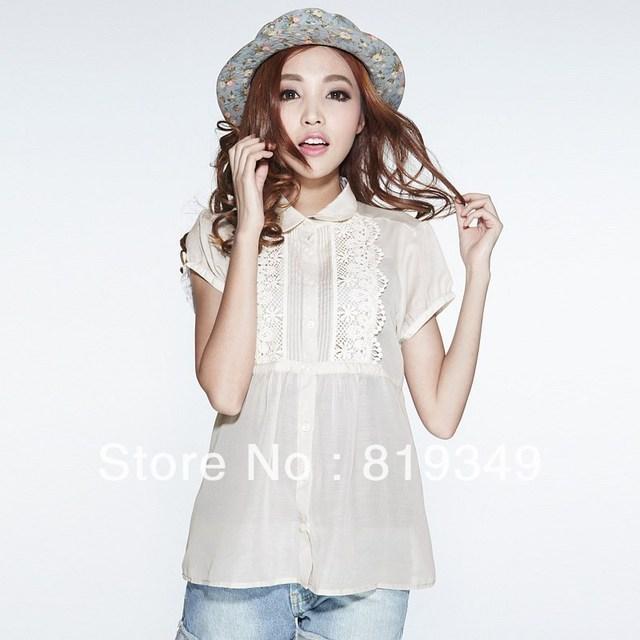 FREE SHIPPING 2013 NEW VANCL Women Blouse Georgia Short Sleeve Chiffon Shirt Fashionable Sweet Wear Puff Sleeve Light Colour