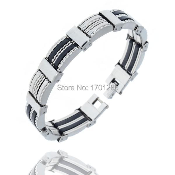 New hot sale fashion men's high quality stainless steel bracelet silver link black rubber bangle irregular pattern(China (Mainland))