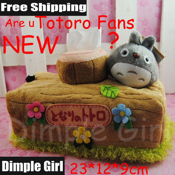 C-1T, 23cm Kawaii Cute Japanese Style Animal shape My Neighbor Totoro Plush Car Tissue Paper Box Holder Cover Table Decoration(China (Mainland))