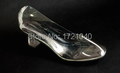 Gorgeous Cinderella Transparent Glass Slipper Fashion Women Sandals Med Square High Heel Sexy Party /Wedding Shoes(China (Mainland))