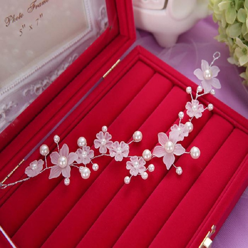 Hotest Fashion White Pearl Flower Hair Comb Head Tiara Headdress Fiara Bridal Party Prom Hair Accessories