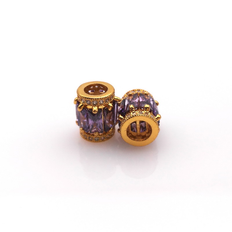 High Quality DIY Zircon Purple Beads Round Tube Beads European Charms Beads Spacer DIY Bracelets Jewelry 1.1* 0.8 CM(China (Mainland))
