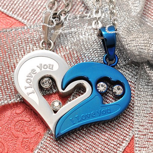 """""""I love you"""" Stainless Steel Assembled Heart Couple Necklaces Pendant Korean Jewelry Fashion 2015, Wholesale,Free Shipping WP299"""