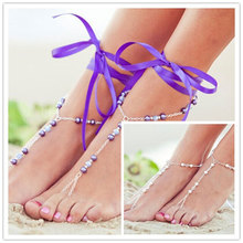 Sexy Barefoot Sandal Ribbon Faux Pearl Anklet Foot Ankle Chain Toe Ring Jewelry