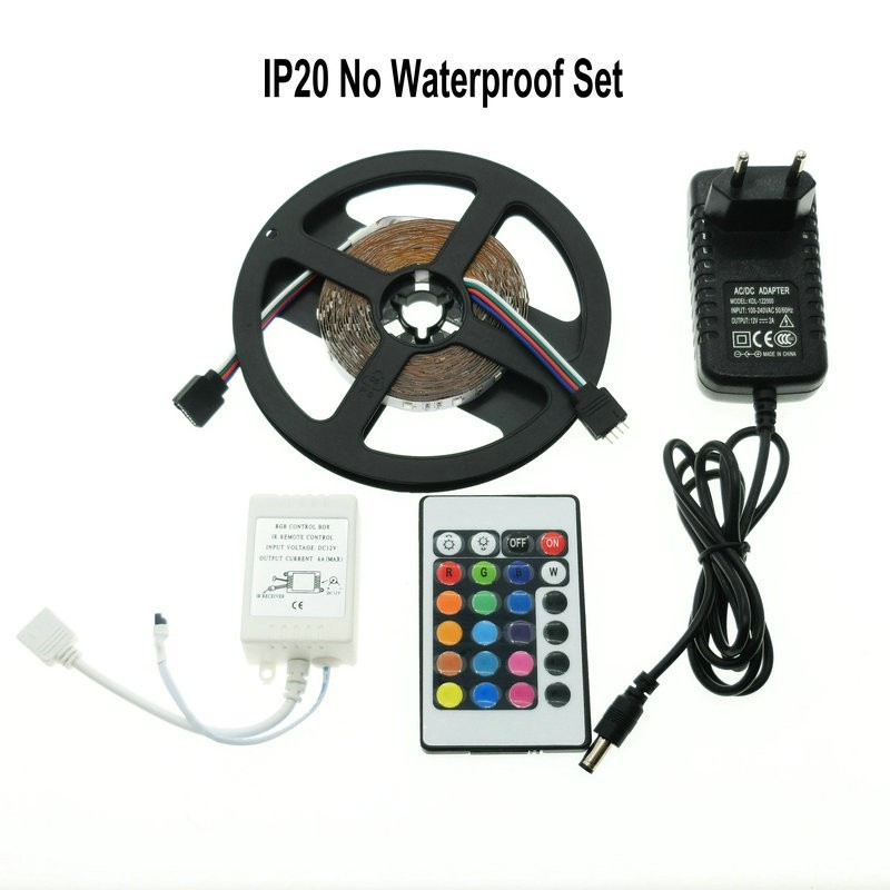 Free shipping L2 RGB LED Strip 3528 5m + 24Key IR Controller + 2A Adapter DC12V Flexible LED Light RGB Sets.