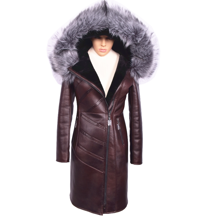 Women Winter Faux Leather Coat with Fur Hood Womens Thermal Jacket Russian Long Style Fake Suede Coats 2015 New Arrival(China (Mainland))
