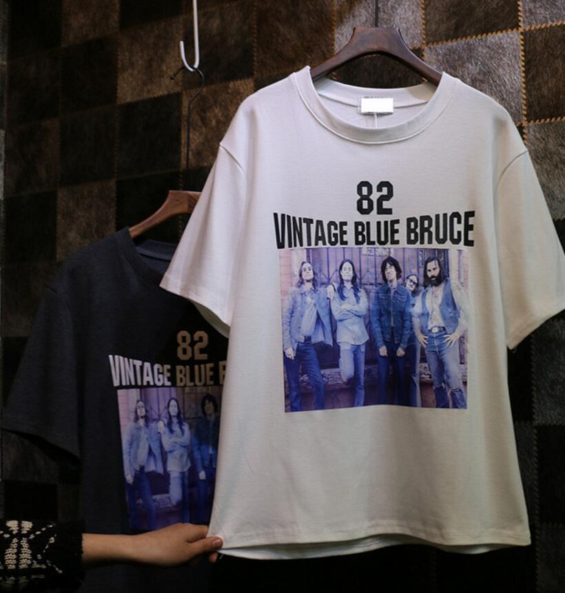 Korea Harajuku style Korean loose short-sleeved classic English alphabet Videos perspective female T-shirt(China (Mainland))
