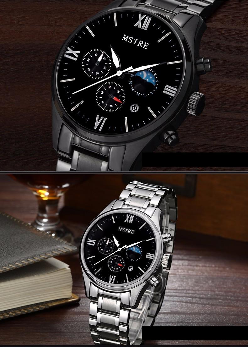 Марка MSTRE Моды Случайные Бизнес Часы мужские Кварцевые Нержавеющей Стали Наручные Часы Хронограф Moon Phase Водонепроницаемый 100 М