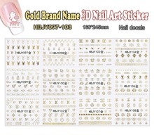 3D Nail(Large Piece HBJY097-108 11 DESIGNS IN 1Gold Logo Brand Name 3d Nail Art Sticker Decal for DIY Nail Beauty
