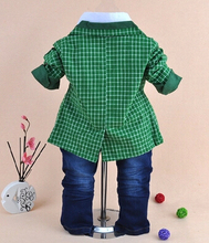 1 3Y baby boy high quality plaid gentlemen clothing set 3pcs baby boy clothing infant vestidos