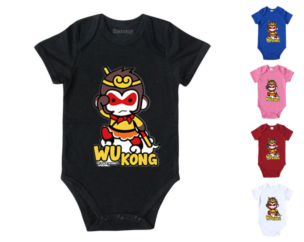 Baby Chinese fairy tales Journey to the West onesie romper Cartoon 100%cotton Wukong jumpsuit Color bule for infant Baby 0-12M(China (Mainland))