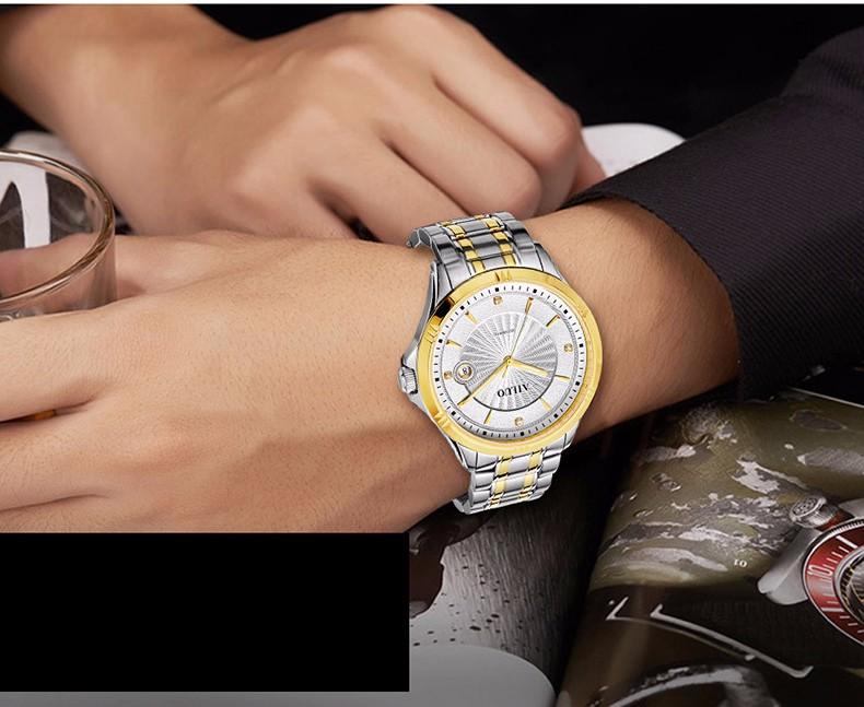 Бренд Ailuo Классический Бизнес Вскользь Влюбленных Смотреть Авто Механические Наручные Часы С Бриллиантами Циферблат Сталь 316L Мужчин и Женщин для Варианта