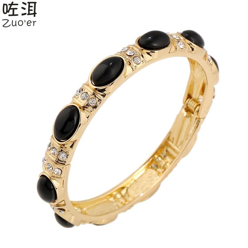 Famous Luxury Brand Crystal Bracelet & Bangles,Fashion Gold / Silver Cuff Bracelets Manchette Female Arm Jewelry Top Quality(China (Mainland))