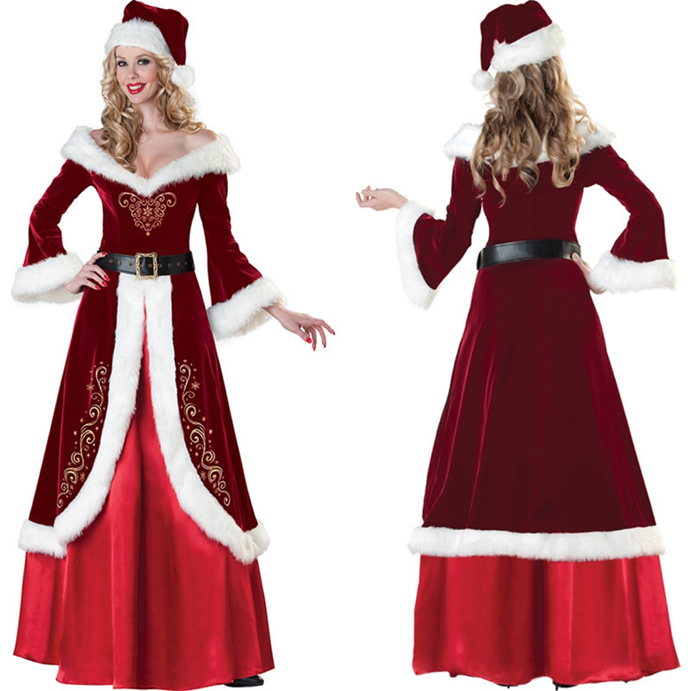 Women Luxury Christmas Queen Dress Princess Santa Costume Sexy Long Sleeve Warm Robe Miss Santa Cosplay Dress Halloween Costume(China (Mainland))