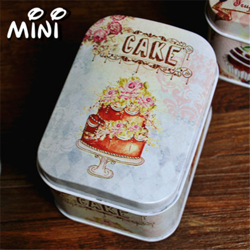 zakka tin box European style arched tin storage box metal rectangle cotton swab box(China (Mainland))