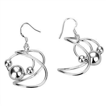 Free Shipping 925 Sterling Silver Earrings,8 hanging bead earrings,925 Sterling Silver Earrings wholesale jewelry E039