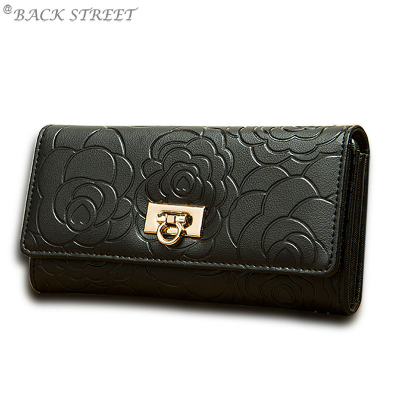 Genuine Leather Women Wallet Embossed Flowers Leather Clutch Wallet Cowhide Purse for Lady Money Bag portfolio female