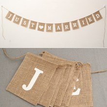 Buy Wedding Jute Rope Flax 4m Vintage Banner Jute Burlap Photo Props Bunting Just Married Rustic Garland Party Wedding Decoration for $4.46 in AliExpress store