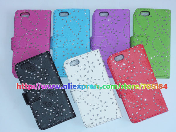 Starry Diamond Bling Glitter Flower skin Flip Wallet Book leather case Cover cases Card holer For Iphone 6 6G 4.7 5 5S 5C 10PCS(China (Mainland))