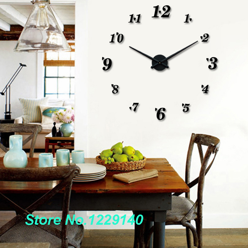 Modern diy large wall clock 3d stickers style home office for Home decor stuff online