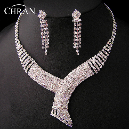 Silver Plated African Rhinestone Wedding Jewelry Promotion Accessories Gifts Elegant Clear Crystal Bridal Women Jewelry Sets
