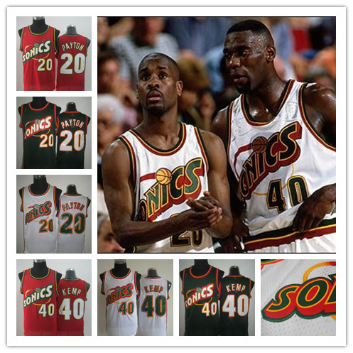Hot Sonics #40 Shawn Kemp #20 Gary Payton Jersey,Rev 30 Throwback Basketball Jersey,Best Quality,Authentic Jersey,Accept Mix Ord(China (Mainland))