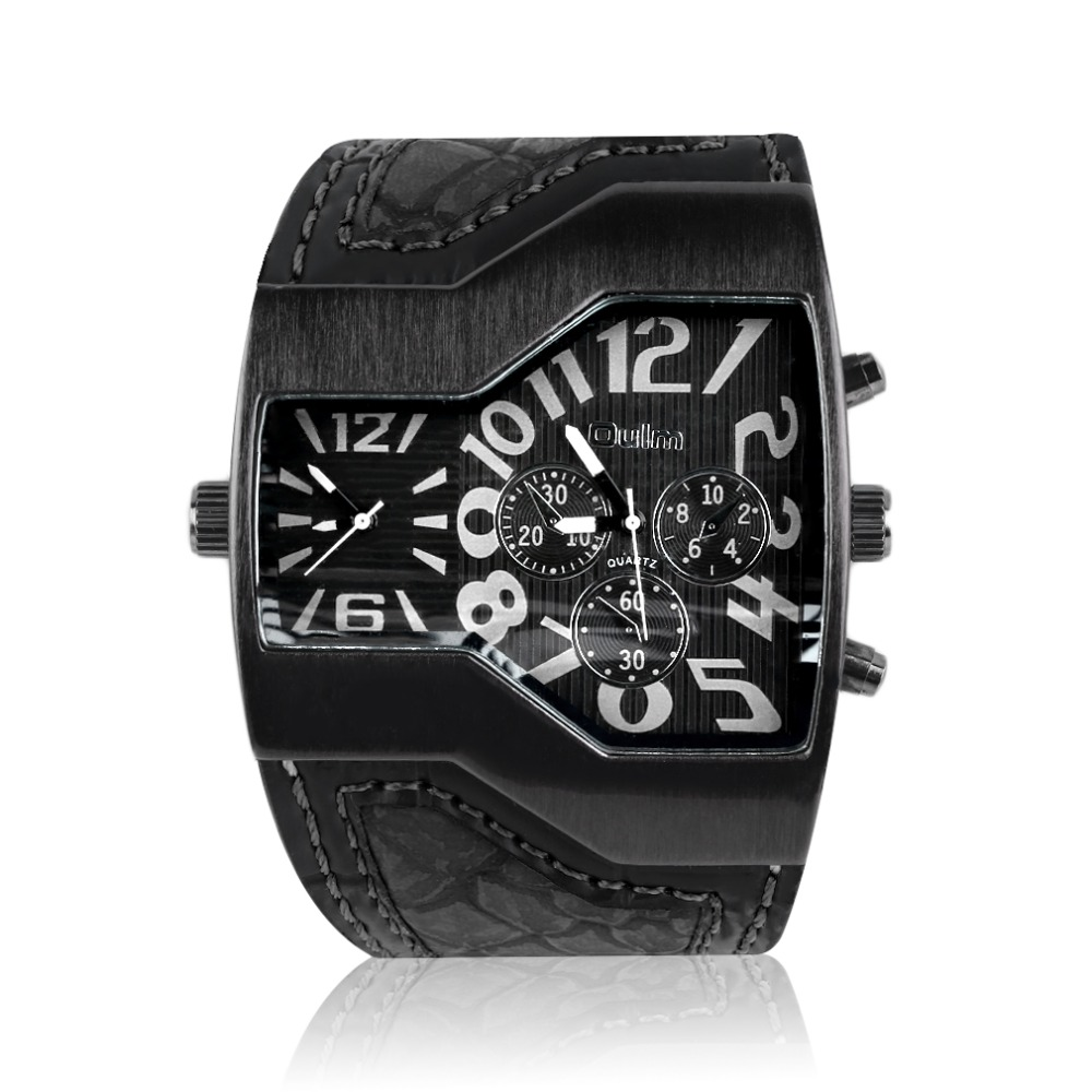 Oulm 1220 Men's 2 Movements Wide PU Leather Strap Quartz Wrist Watch Time Gift brand new and high quality(China (Mainland))