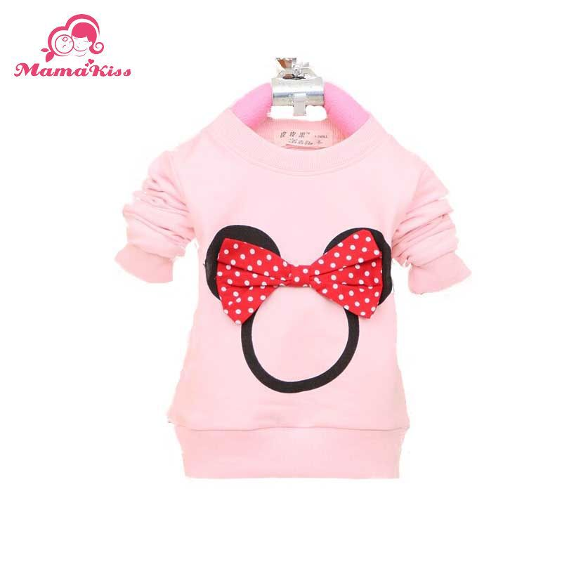 2014 New Fashion Autumn Baby Tees Cotton with Mickey Print Baby Tops girls T shirt Clothes