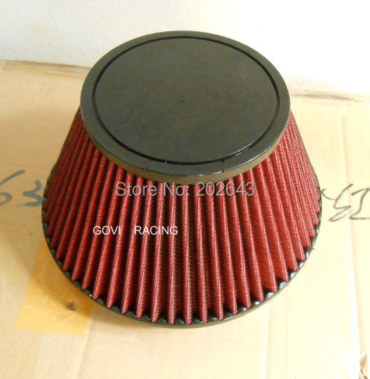 2688-1 red car air filter with plain PU top and 152mm neck universal for air intake induction kits carbon filter knopel astra(China (Mainland))