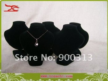 Free shipping promotional Jewelry display necklace neckform mini bust torso black velvet jewelry diplay