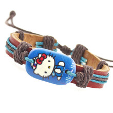 2015 New Cute Fashion Hello Kitty Charms Genuine Leather Bracelets For Girls Friendship Bracelet Bangles Fine Jewelry Wholesale(China (Mainland))