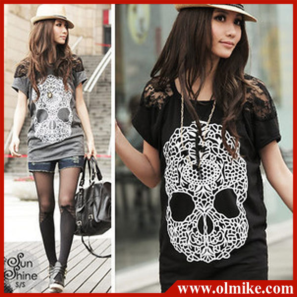 free shipping BIG SALE hot fashion 2013 women skull head tide T code lace slim t shirt WA031 cotton tops lady casual tees