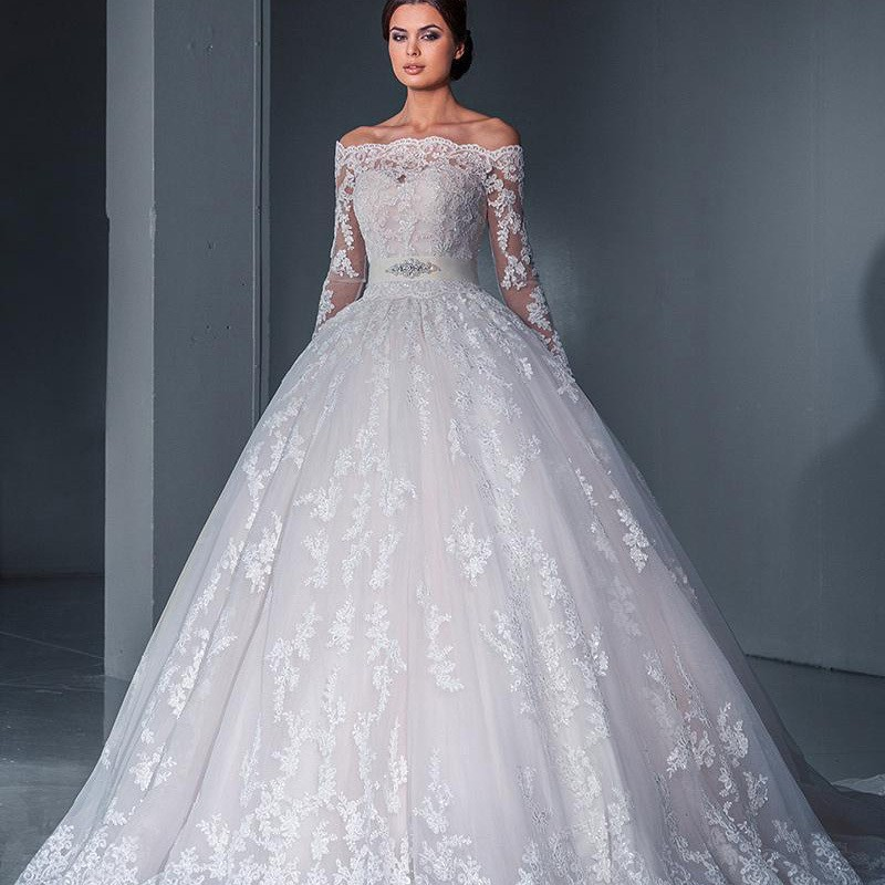 Vintage 2016 ball gown wedding dress sexy off the shoulder for Vintage off the shoulder wedding dresses