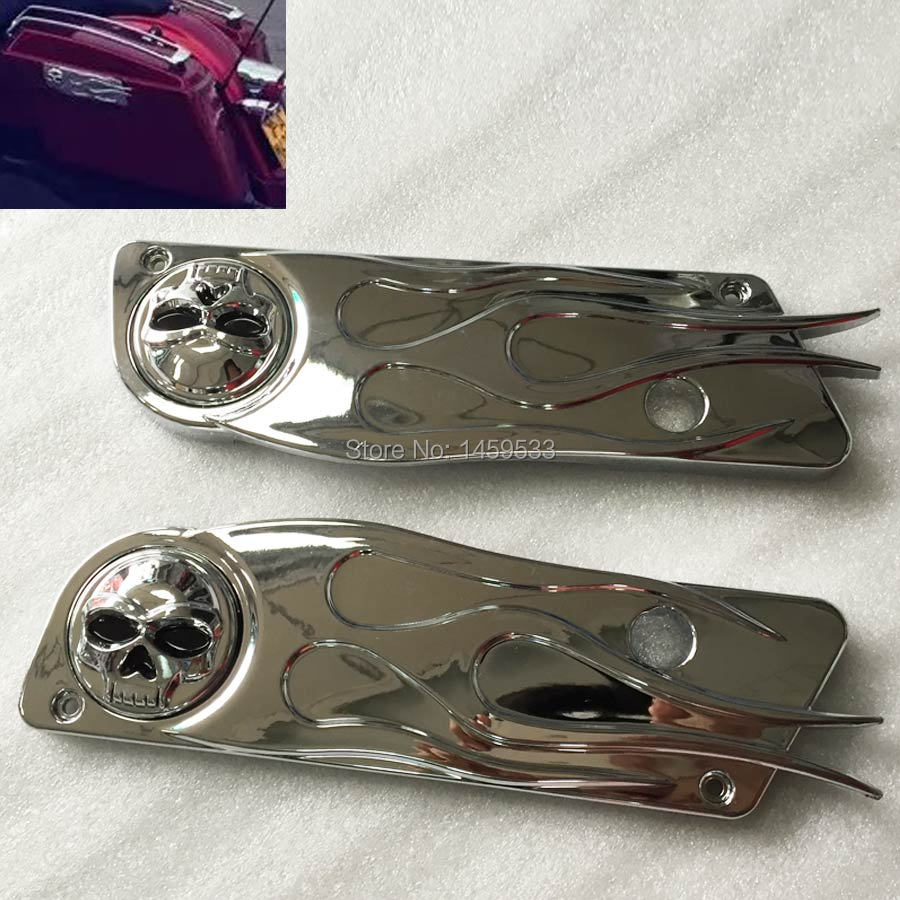 Skull Chrome Saddlebag Latch Cover For 1993-2013 Harley Touring Hard Flame Bags Free Shipping(China (Mainland))