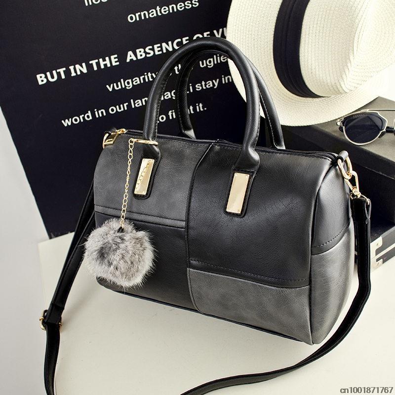 New Arrive Patchwork PU leather Winter Bag Fashion Large Women Shoulder Bag Totes Crossbody Bag(China (Mainland))