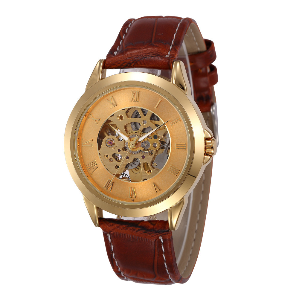 Extravagant 18K Gold Plated Men Skeleton Mechanical Automatic Watch Fashion Real Leather Analog Self-Wind Wristwatch Reloj NW612<br><br>Aliexpress