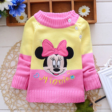 Baby Girl Sweater Cartoon Embroidery Children Winter Spring Clothes Tops For 60-95cm Height G039(China (Mainland))