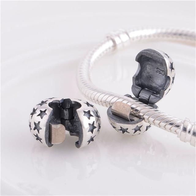 925 клип ядро пробка шарм бусины бал ювелирные изделия DIY подходит для бандуры браслет оптовая продажа серебро 925